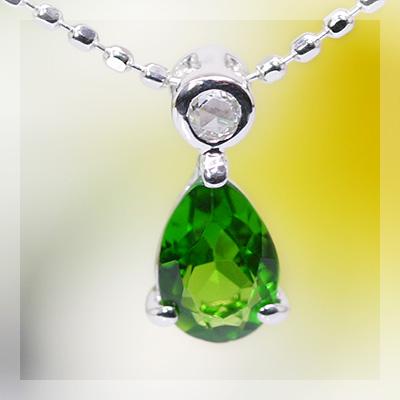 人気★再販 6×4グリーンガーネットペアシェイプ×ローズカットダイヤモンドペンダント 誕生石 1月 4月