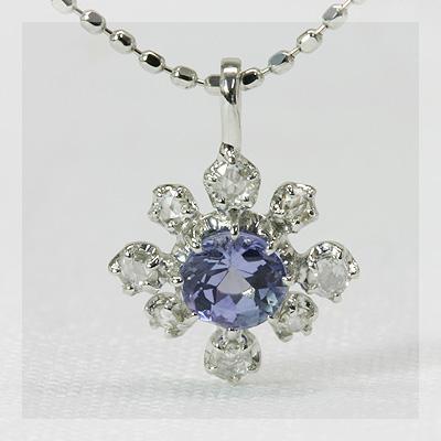 K18 ペンダント タンザナイト ローズカットダイヤモンド ※チェーンは別売りです きれいなタンザナイト×ローズカットダイヤモンドフラワーデザインペンダントトップ 誕生石 4月 12月
