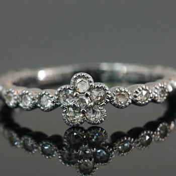 プラチナ900製ローズカットダイヤモンドミル打ちフラワーリング送料無料