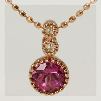 ピンクトルマリンアンティークデザインミル打ちペンダントトップ 誕生石 10月 春色ピンク