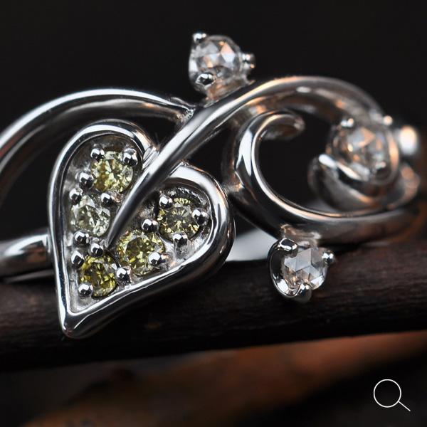 エントリーのみでポイント10倍 4/9 20時~ 心安らぐナチュラルモチーフアーガイル産グリーンダイヤモンドリング