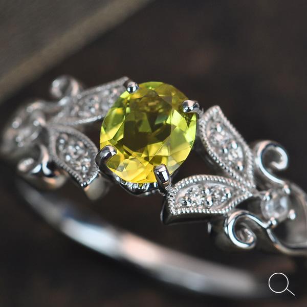 イエロートルマリン(カナリートルマリン)×ダイヤモンドリング「ヴィジュエル」 誕生石 4月 10月