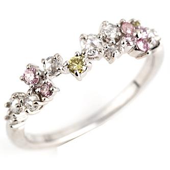 「春霞」ピンクダイヤモンドxナチュラルグリーンダイヤモンドxローズカットダイヤモンド リング 誕生石 4月 春色ピンク