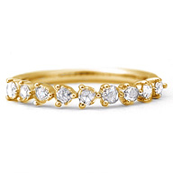 エントリーのみでポイント10倍 4/9 20時~ ローズカットダイヤモンドを9石並べたごくシンプルなデザイン。ローズカット ダイヤモンド リング