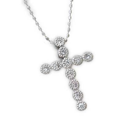 GWイベント開催中 ダイヤモンドミル打ちクロスペンダント対応金種:K18WG/YG/PG/SG 誕生石 4月 母の日