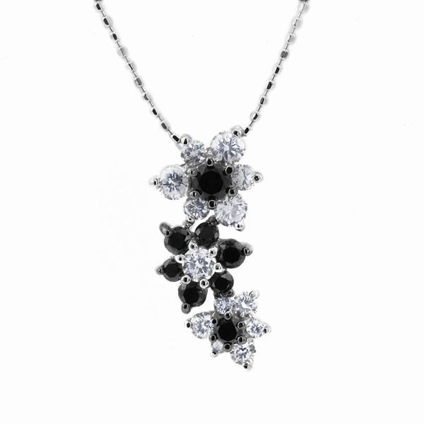 エントリーのみでポイント10倍 4/9 20時~ ブラックダイヤ×ダイヤモンドペンダント「オーキッド」 対応金種:K18WG/YG/PG/SG送料無料