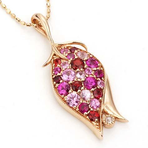 「薔薇のつぼみ」ピンクカラーミックスxローズカットダイヤモンドペンダントトップ 誕生石 4月 春色ピンク