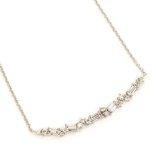 K18バケットダイヤモンド×ブリリアントダイヤモンド「ニュークレセント」 New Crescent ネックレスK18(WG/YG/PG/SG)対応 誕生石 4月