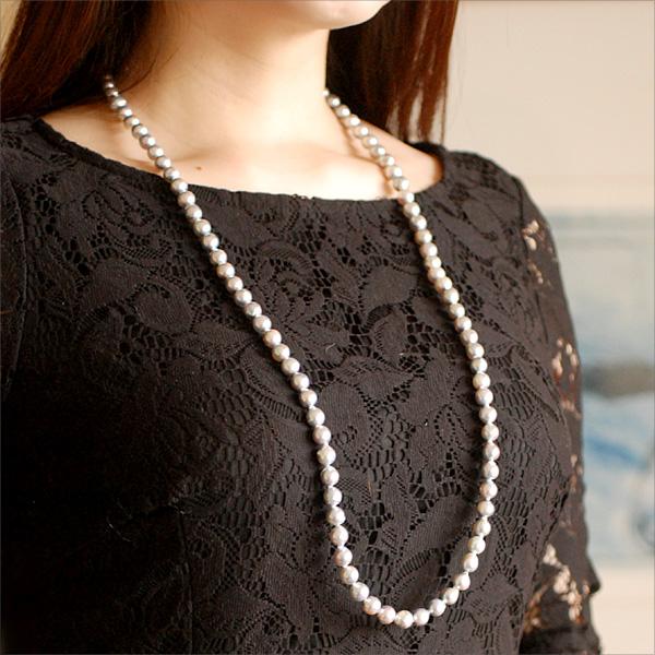 エントリーのみでポイント10倍 4/9 20時~ 稀少カラー!無調色ブルーグレーあこや真珠ネックレス(全長84cm)対応金種:SV925送料無料