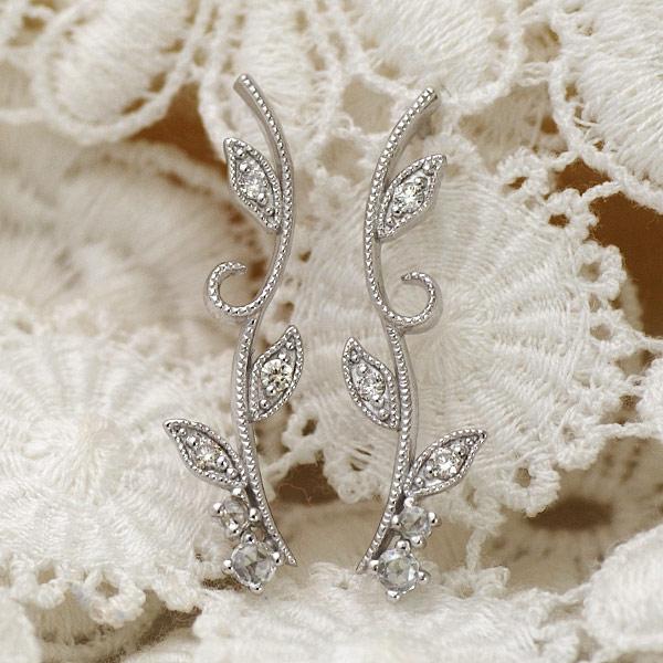 GWイベント開催中 ローズカットダイヤ×ダイヤモンドピアス「アイビー」対応金種:K18YG/PG/WG/SG※こちらのピアスは1ペアでの金額です 誕生石 4月 母の日