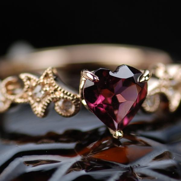 ロードライトガーネットハートシェイプ×ローズカットダイヤモンド指輪・リング 対応金種:K18WG/K18YG/K18PG(写真はPG) 誕生石 1月 4月