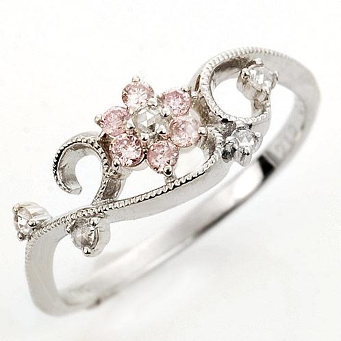 「ルクリア」 Luculiaピンクダイヤモンド ローズカットダイヤモンド リング 誕生石 4月 春色ピンク