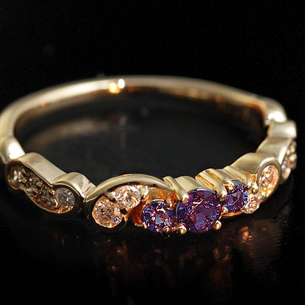 GWイベント開催中 アレキサンドライト×ダイヤモンドリング「フルエンテ」対応金種:K18WG/YG/PG/SG 誕生石 4月 6月 母の日