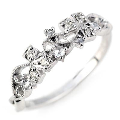 エントリーのみでポイント10倍 4/9 20時~ ローズカットダイヤモンド×ダイヤモンドリング「ツタのアラベスク」 対応金種:K18WG/YG/PG/SG送料無料