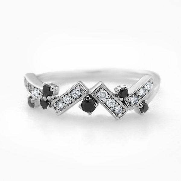 GWイベント開催中 ブラックダイヤモンド×ダイヤモンド モダンリング対応金種:K18WG/YG/PG/SG 誕生石 4月 母の日