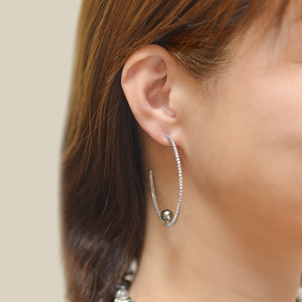 GWイベント開催中 限定1ペア タヒチ真珠×1.26ct ダイヤモンド フープピアスK18WG特選ルース 限定1ペア 誕生石 4月 6月 母の日