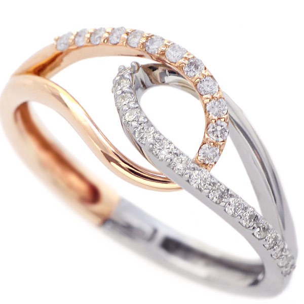 GWイベント開催中 サイズのお悩みを解消する指輪 ダイヤモンド Temptation リング K18PG/K18WG コンビ 誕生石 4月 母の日