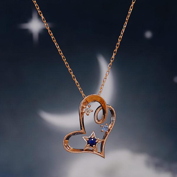 GWイベント開催中 ブルーサファイア×ダイヤモンドペンダント「星空ハート」新作 誕生石 4月 9月 母の日
