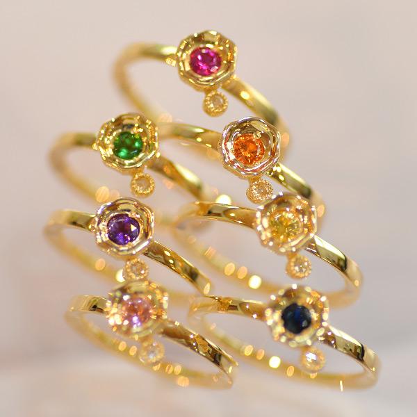 7色のカラーストーン×ローズカットダイヤモンドリング「光」¥33000から¥43000税抜 ※選択ルースにより減額します。