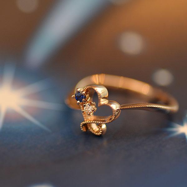 GWイベント開催中 ブルーサファイア×ダイヤモンドリング「星空ハート」新作 誕生石 4月 9月 母の日