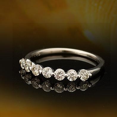 メーカー再生品 K18 リング ダイヤモンド ネイキッドリング 誕生石 ネイキッドセッティング 大人気 4月