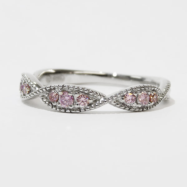 Pt900 ピンクダイヤモンドミル打ちリング銀座サロン販売アイテム簡易お買い物かご 誕生石 4月 春色ピンク