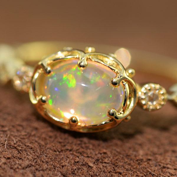 メキシコオパール ローズカットダイヤモンドリング「コロナ」K18YG #13 サイズ変更承ります 誕生石 4月 10月