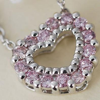 ピンクダイヤモンドオープンハートペンダントネックレス 誕生石 4月 春色ピンク