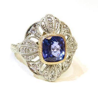 PT900 タンザナイト ダイヤモンド リング サイズ13号 サイズ直し承ります タンザナイト 約8.1×7.1mm 3.67ct ダイヤモンド0.3ct 誕生石 4月 12月