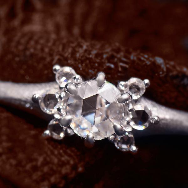 3.6mm ローズカットダイヤモンドリング「ルークス」Lux※K18・K10・PT900対応 テクスチャー・鏡面仕上げ対応 金種により金額が異なります誕生石 4月