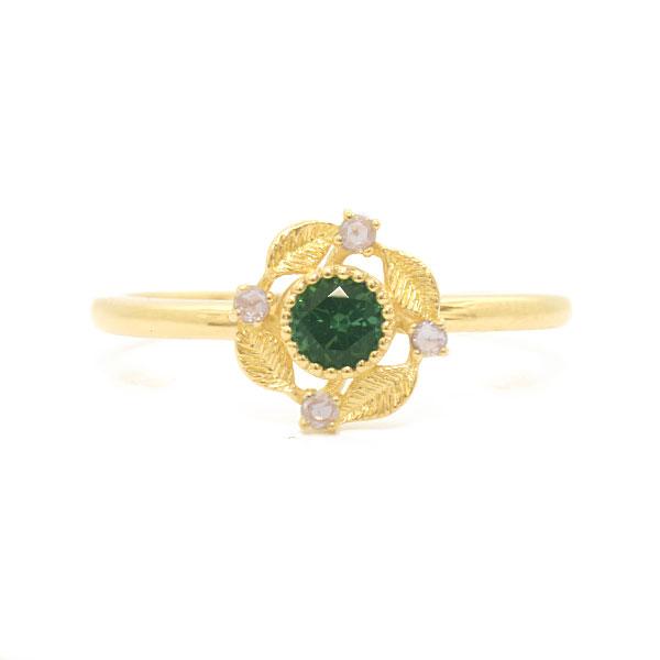 数量限定 ラグーングリーントルマリンxローズカットダイヤモンドリング「カテーナ」K10・K18対応 ※金種により金額が異なります。誕生石 4月 10月