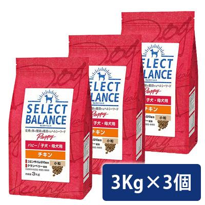 セレクトバランス パピー チキン 小粒 3kg 子犬・母犬用 3個セット 送料無料 コンビニ受取対応商品