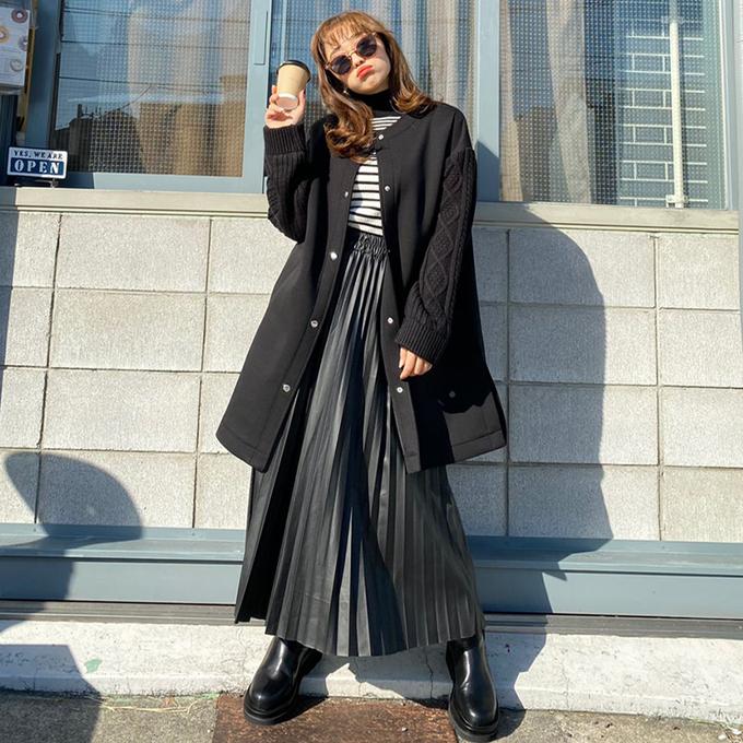 お袖が可愛いコート GLAMOROUS GARDEN 袖ニットボンディングコート 出色 切替 ニット コート デイリー 15 当店通常価格 レディース 400円 税込 アウター グラマラスガーデン 絶品 こなれ