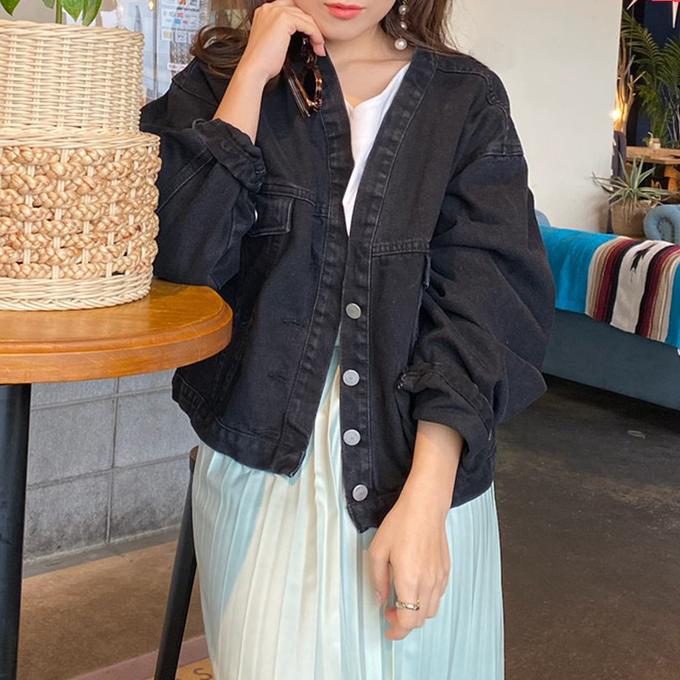 すっきり着られるノーカラーのデニムジャケット GLAMOROUS GARDEN デニムジャケット デニム生地 本店 アウター ノーカラー トップス レディース こなれ 代引き不可 ベーシック グラマラスガーデン 長袖