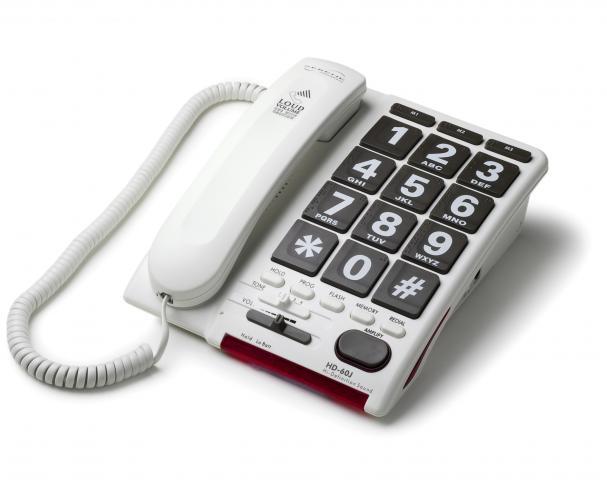 ボタンも大きくて押しやすい電話器 自立コム ジャンボプラス HD60J 【送料無料】介護 老人 高齢者 電話 電話機 聴力