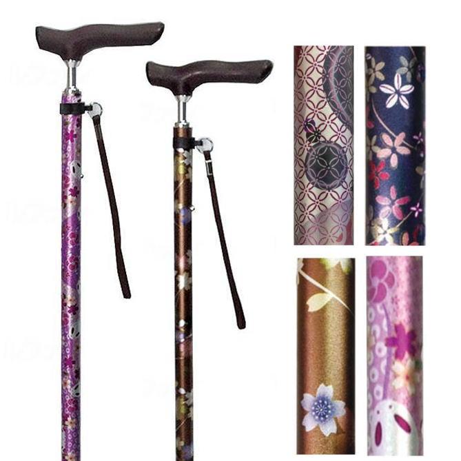 【伸縮式杖】伸縮ジョイント 和柄ステッキ 島製作所 一本杖タイプ ※この杖は折り畳みできません※