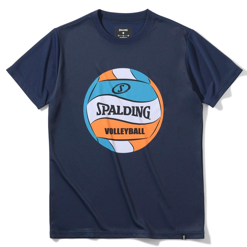 バレーボール Tシャツ ボールプリント SMT200740 超安い 正規品 SPALDING スポルディング バレー ウェア メンズ 新着セール 男女兼用 レディース 女性 ユニセックス 半袖 男性 練習着 シャツ