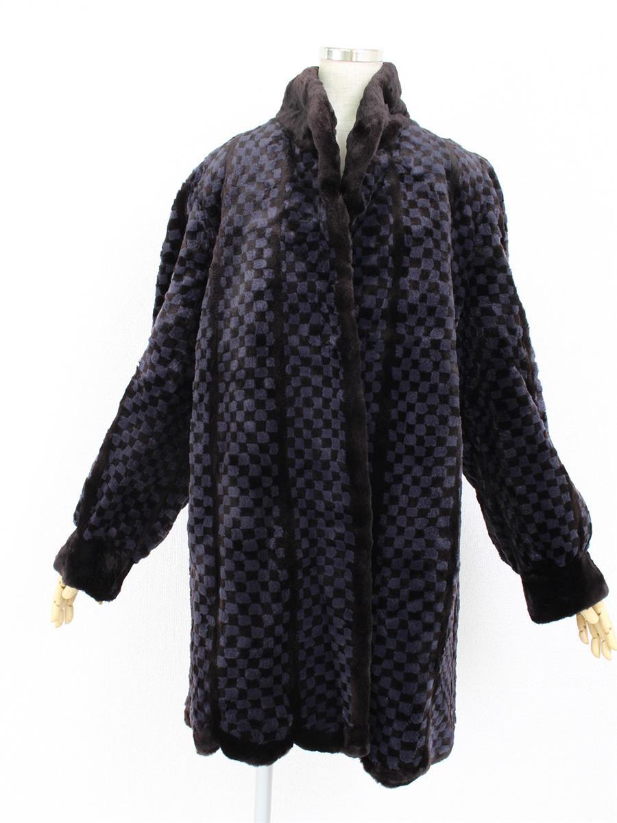 毛皮 シェアードミンク コート ブラック ダミエ柄【F】【Aランク】【中古】ts280326