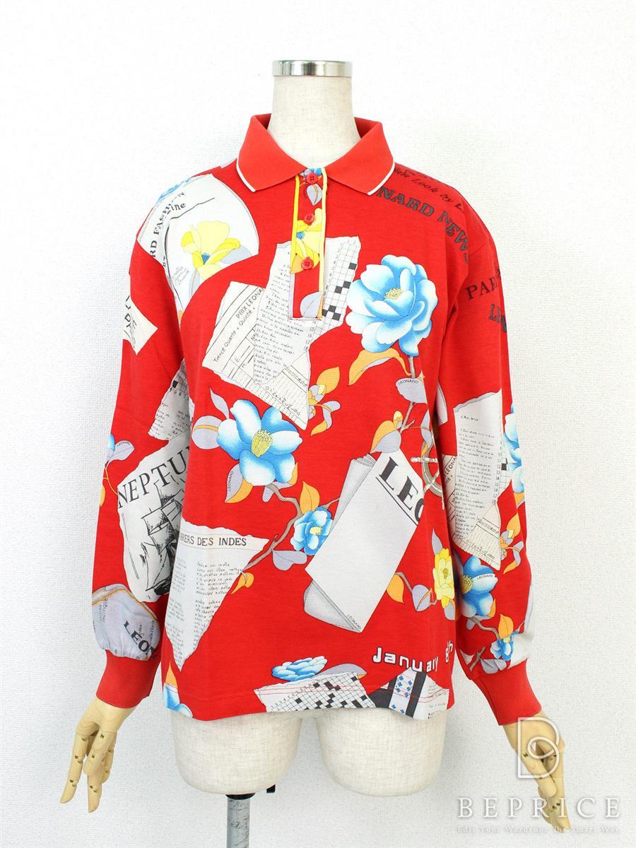 LEONARD SPORTS レオナール ポロシャツ ニュースペーパー柄【M】【Bランク】【中古】tn290309