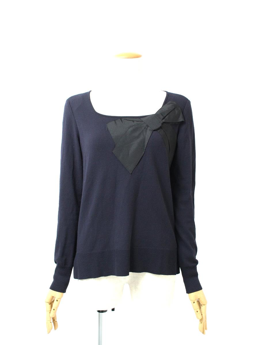 FOXEY BOUTIQUE フォクシー トップス Sweater Square Ribbon【38】【Bランク】【中古】ic290702