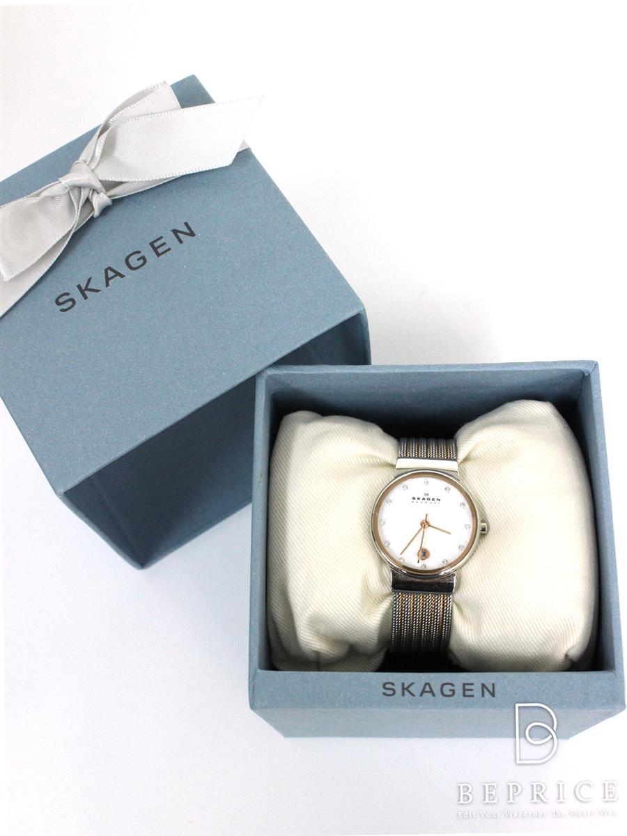 SKAGEN スカーゲン 腕時計 スワロフスキー355SSRS【Aランク】【中古】tn291019t