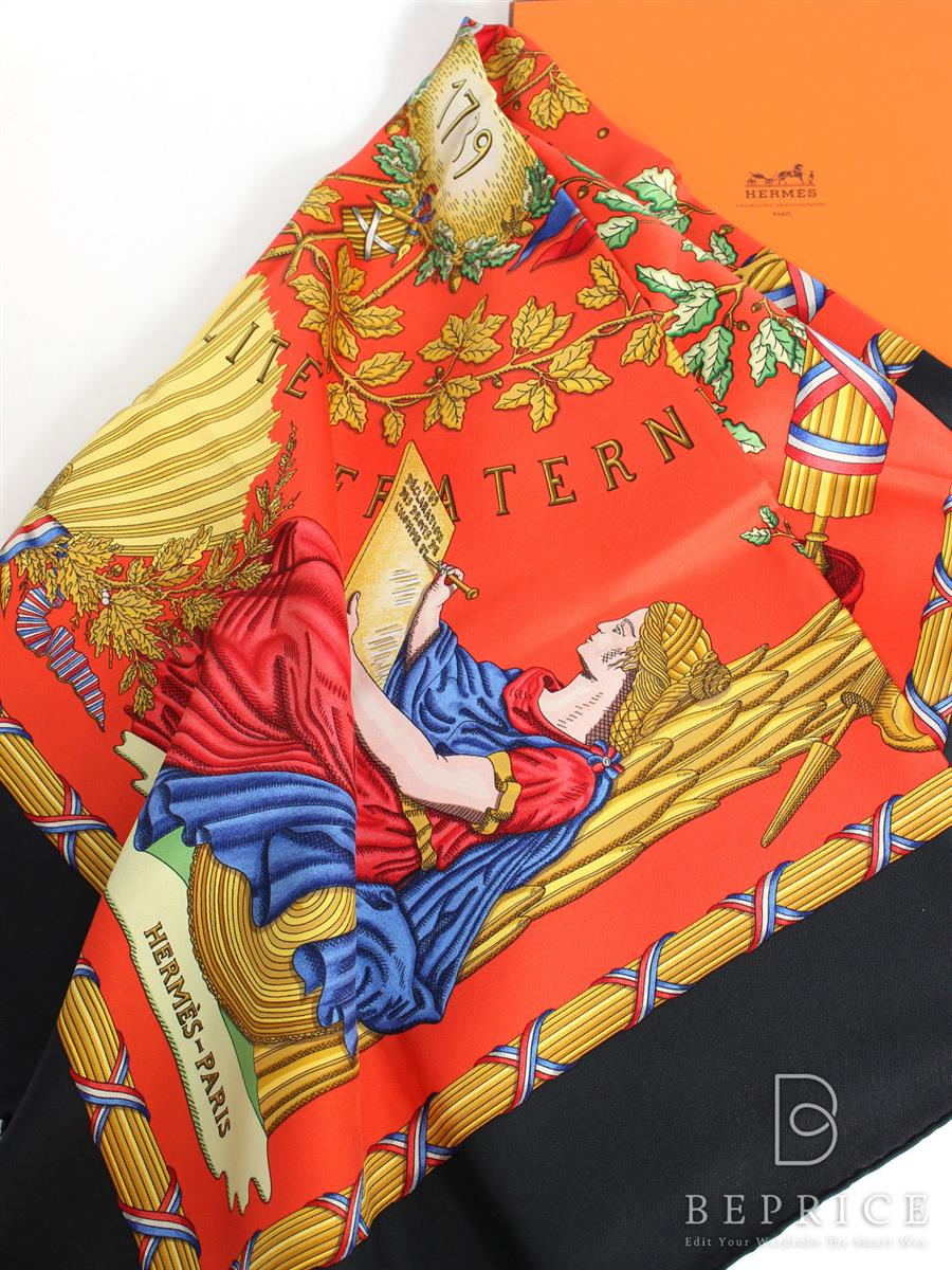 HERMES エルメス スカーフ カレ90 LIBERTE EGALITE フランス革命記念【Aランク】【中古】gztn291210t