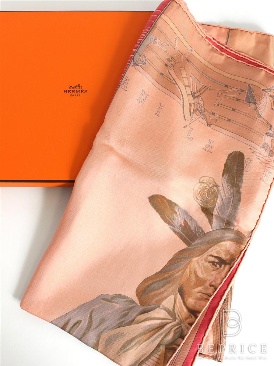 HERMES エルメス スカーフ カレ シルク DIP DYE インディアン柄【Aランク】【中古】tn291224t