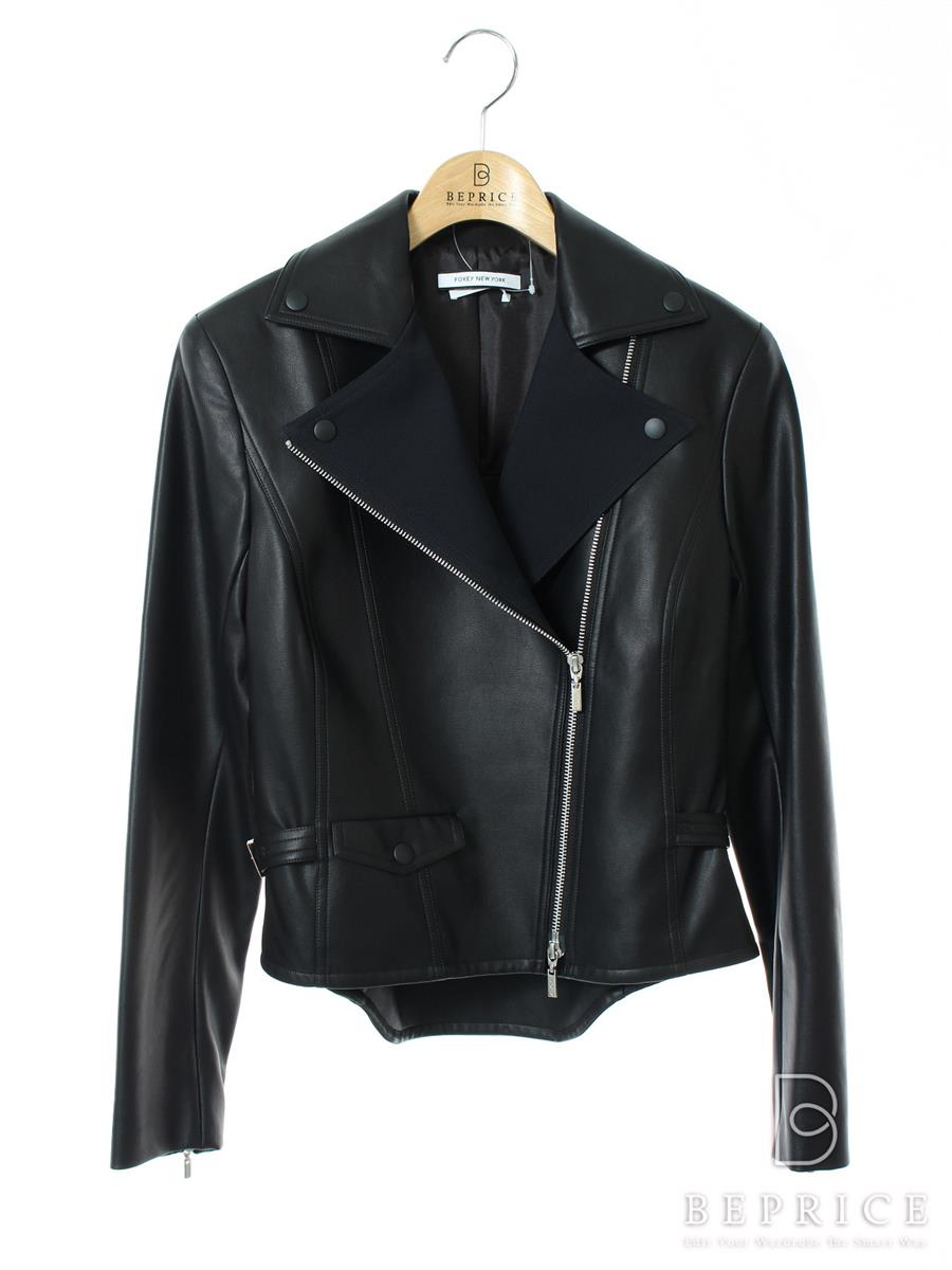 FOXEY NEWYORK フォクシー ジャケット SCULPTED LEATHER JACKET COLLECTION【38】【Aランク】【中古】tn300225t