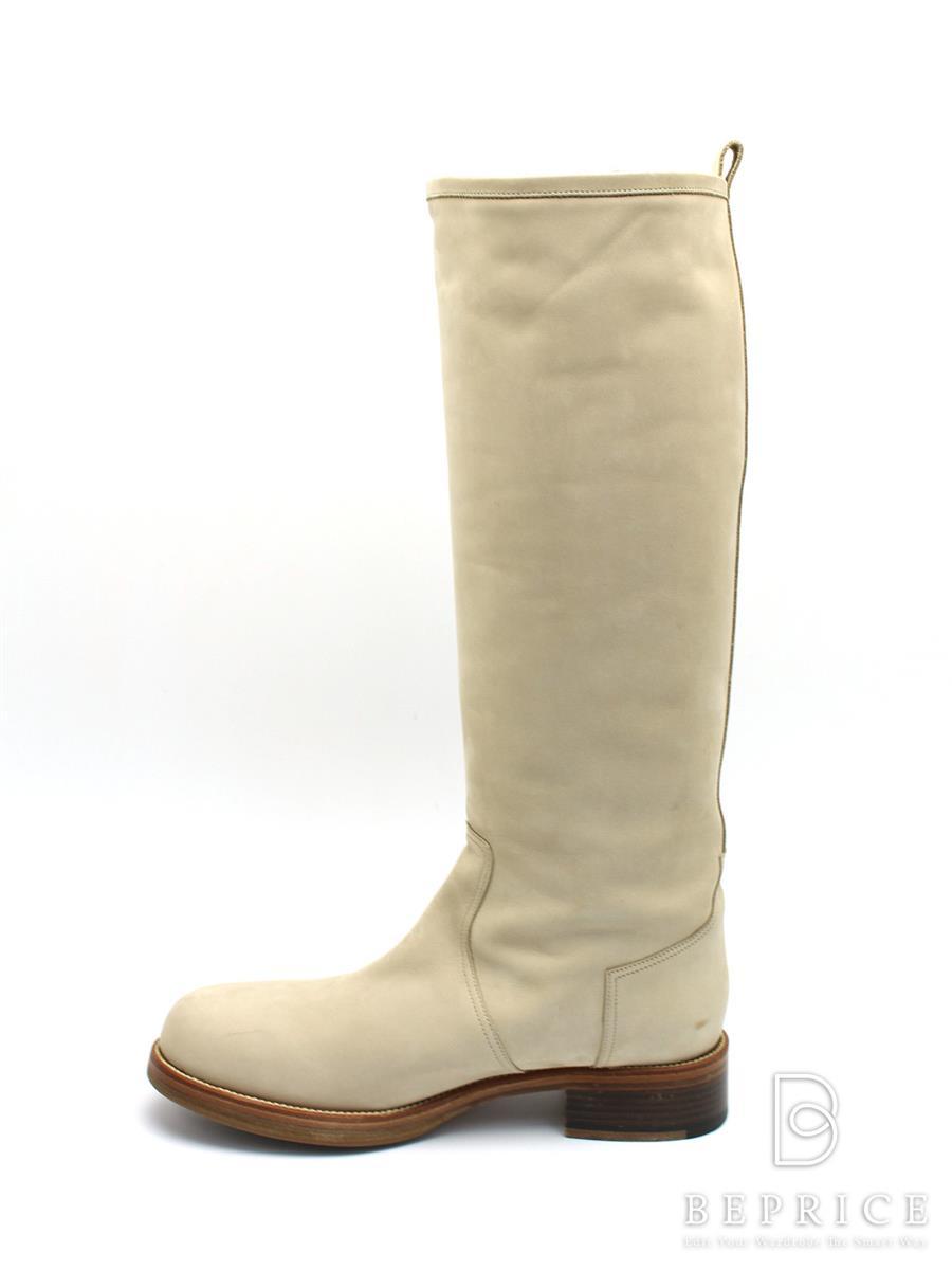 HERMES エルメス 靴 ロングブーツ スエード【38】【Bランク】【中古】tn300301t
