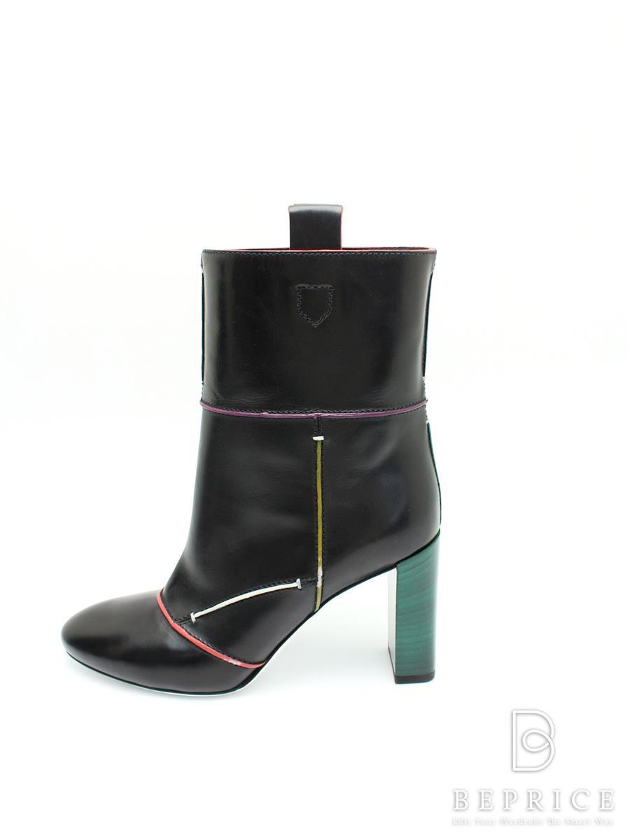 FENDI フェンディ ブーツ ショート レザー ヒール【40】【Sランク】【中古】tn300225t