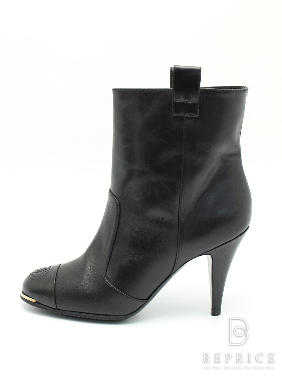 CHANEL シャネル 靴 ショートブーツ ブーティ レザー【37C】【Aランク】【中古】tn300318t