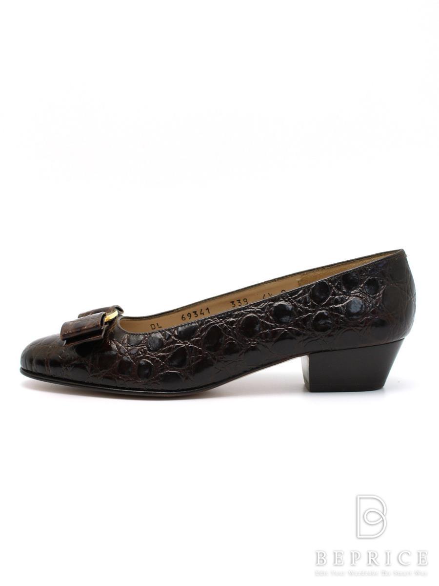 Ferragamo フェラガモ 靴 パンプス ヴァラ リボン 型押し【4.5C】【Aランク】【中古】tn300325t