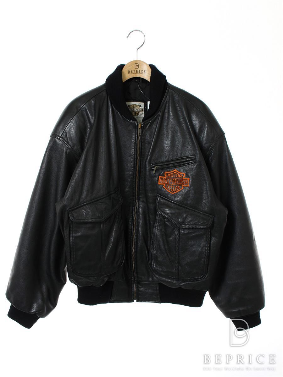 Harley Davidson ハーレーダビッドソン レザージャケット シングル【メンズ】【L】【Bランク】【中古】tn300401t