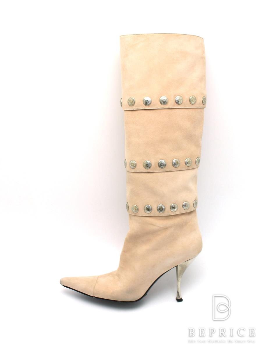 DOLCE&GABBANA ドルガバ 靴 ロングブーツ スエード【38】【Bランク】【中古】tn300412t